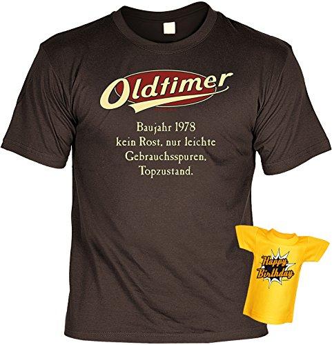 Jahrgangs-Spaß-Fun-Shirt-Set inkl. Mini-Shirt/Flaschendeko: Oldtimer Baujahr 1978 - geniales Geschenk Braun