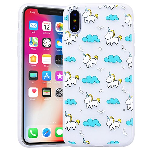 Cover iPhone X, SMART LEGEND Custodia iPhone X Case TPU Silicone Semi Frosted Opaca Trasparente Ultra Slim Gomma Morbido Gel Bumper, Soft Caso Flessibile Protettiva Antiurto Shock Cover - Crisantemo 1 Unicorno 3