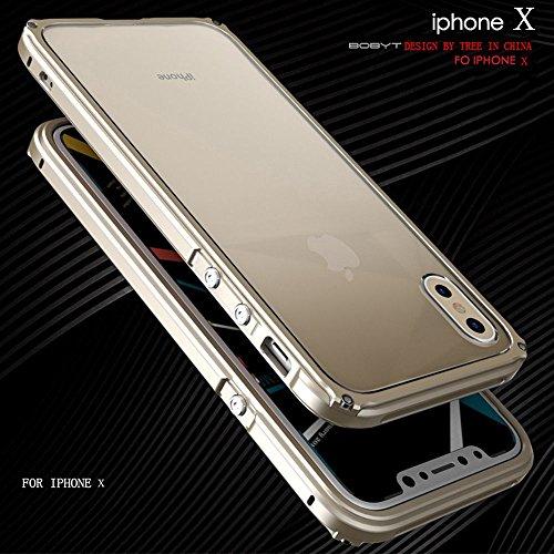 """iPhone X Coque ,SHANGRUN Aluminium Metal Frame Bumper Coque + Transparent PC Matériel Protictive Couvercle housse Etui Protection Case pour iPhone X 5.8"""" Rose Or Or"""