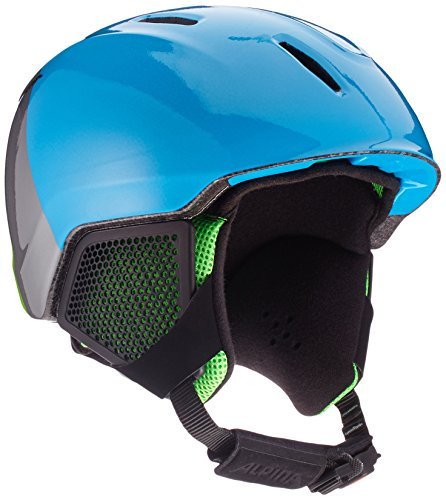 Alpina Kinder Carat LX Skihelm, Green/Blue/Grey, 51-55 cm