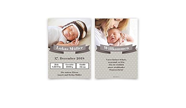 10 x Geburtskarten Geburt Babykarten individuell mit Foto M/ädchen Junge als Zeitung