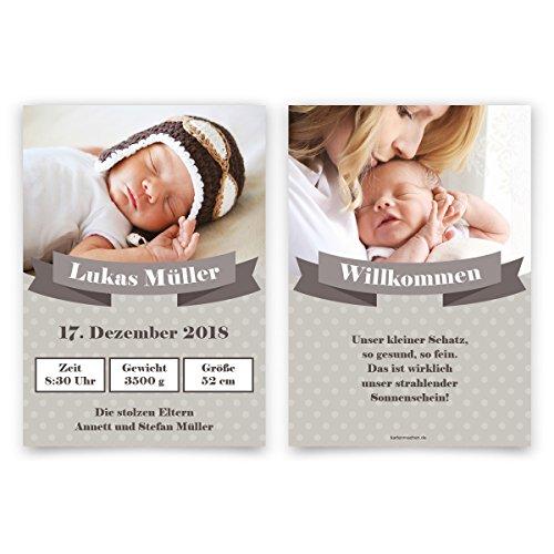 30 x Geburtskarten Babykarten Geburt Baby individuell Mädchen Junge - Willkommens-Schärpe