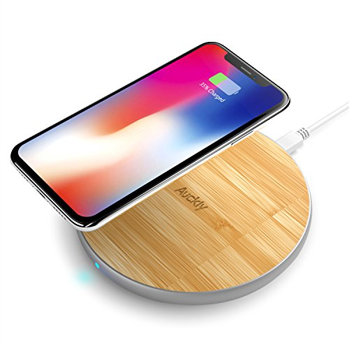 Auckly Bamboo 10W Qi Wireless Fast Charger Pad, Drahtlos Ladegerät Schnellladestation für Apple iPhone 8/ 8 Plus/ iPhone X, Samsung Galaxy Note 8/S8/S8 Plus/S7/S7 Edge und alle Qi Fähige Geräte