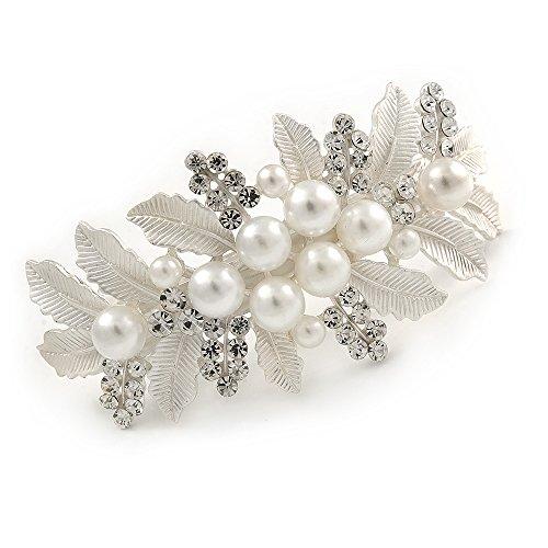 Avalaya Grande lumineux Argenté mat Diamante Fausse Perle Floral Barrette Pince à Cheveux Grip – 90 mm de diamètre