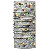 Buff Sciarpa con mosche da pesca al salmone e rana pescatrice, resistente ai raggi UV, unisex, Salmon Flies Sand, Grey/Yellow/Green/Brown, Taglia unica
