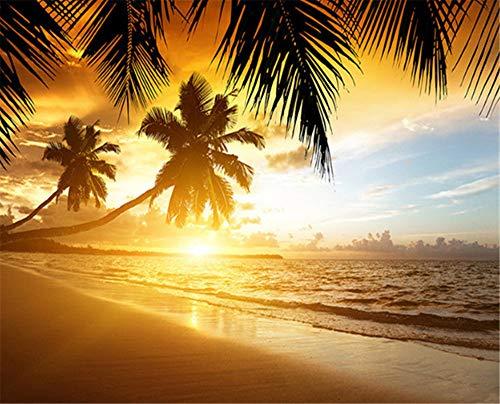 GBHL Südostasien Stil Wunderschöner Sonnenuntergang Strand Natur Landschaft Foto Wandbild Tapete Cafe Esszimmer Thema Hotel Hintergrundbilder, 350x245 cm (137.8 by 96.5 in)