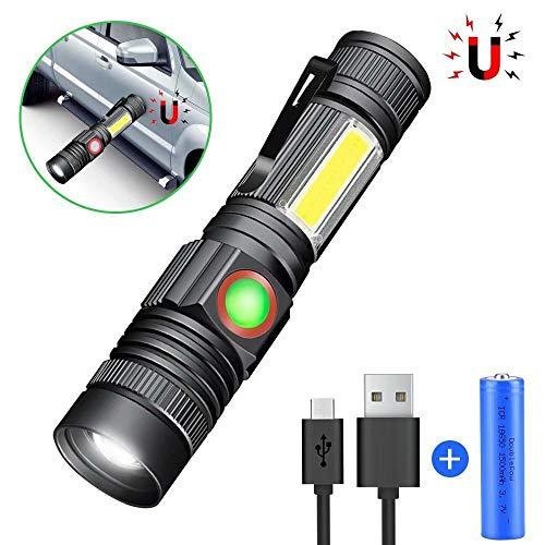 LED Magnet USB Wiederaufladbar, Super Hell COB Arbeitsleuchte, 4 Modi Zoombar Taktische Wasserdicht Taschenlampen für Kinder Outdoor Camping Notfall (Inklusive 18650 Batterie) ()