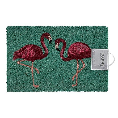 Preis am Stiel Fußmatte – Flamingo | Fußabtreter Haustür | Türvorleger mit Motiv | Schmutzmatte Eingangsbereich | Geschenk für Frauen