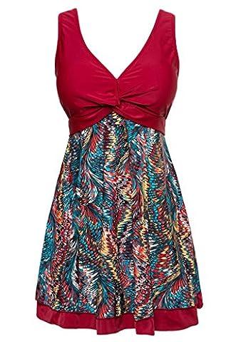 Wantdo Women's Cute Bathing Wear Dress Retro Vintage Fashion Monokinis Swimsuit(Wine Red,5XL(UK14-16))