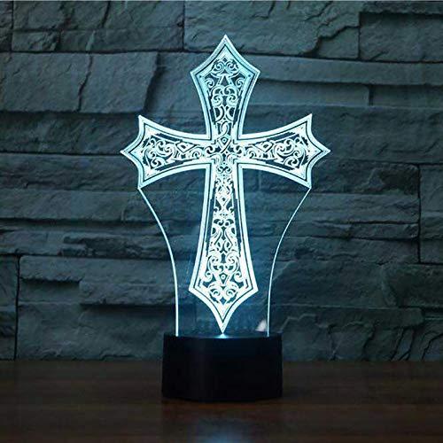 unte Nachttischlampe Christus Kreuzform Leuchte 3D Religiöse Kultur Nachtlichter Geschenke Hauptschlaf Beleuchtungsdekor ()