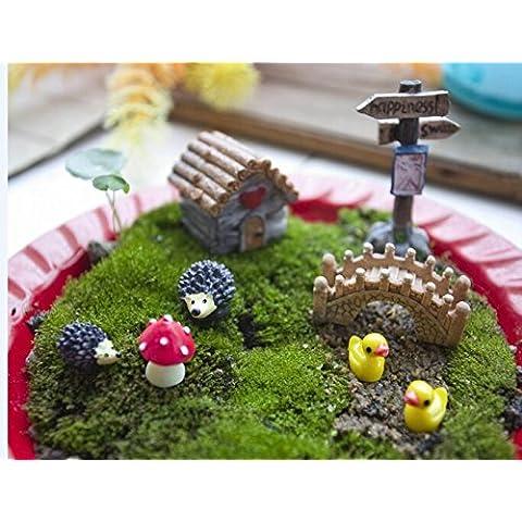 Mossfairy Jardín de hadas en miniatura, casa de muñecas estilo casa de campo, kit de bricolaje, 8 piezas