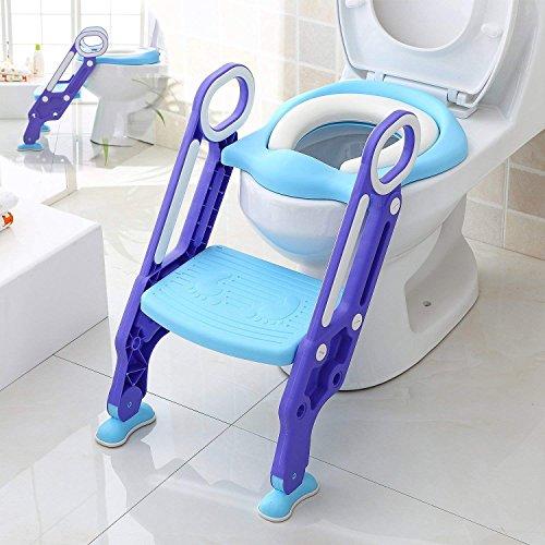 Töpfchentrainer Toiletten-Trainer, Kinder Töpfchen Kinder-Toilettensitz mit Leiter Töpfchen Sitz mit Treppe 75 Kg belastbar, Blau