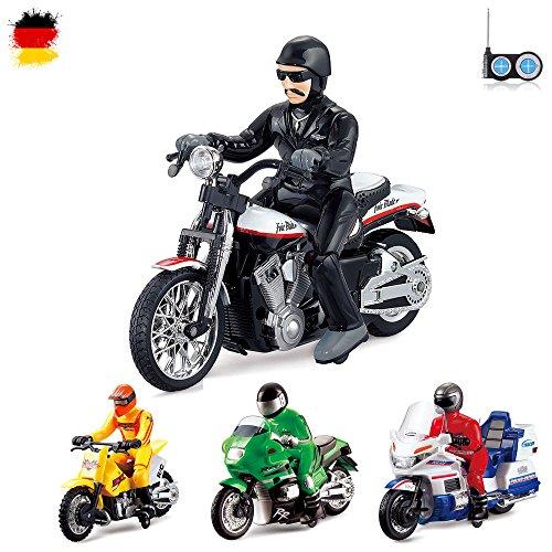RC Ferngesteuertes Motorrad im Motobike, Harley, Chopper und Polizei Design, Modell-Maßstab 1:18, Ready-To-Drive, Inkl. Fernsteuerung, 15km/h, Neu (Auf Mädchen Harley Der)