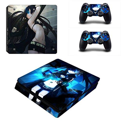 Playstation 4 Slim + 2 Controller Aufkleber Schutzfolien Set - Black Rock Shooter /PS4 S