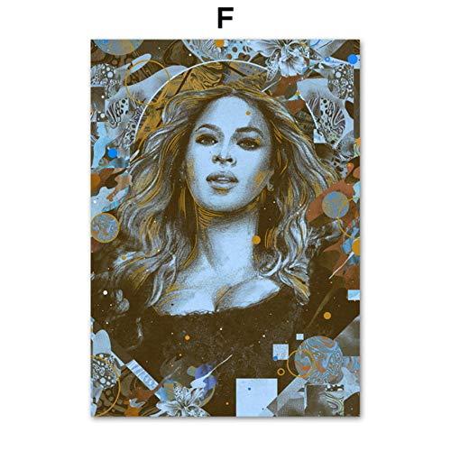 XWArtpic Grammy Award Adele Beyonce Rapper Sänger Stern Vintage Wandkunst Leinwand Malerei Nordic Poster Und Drucke Wandbilder Für Wohnzimmer Decor F 40 * 50 cm (Beyonce Bilder-rahmen)
