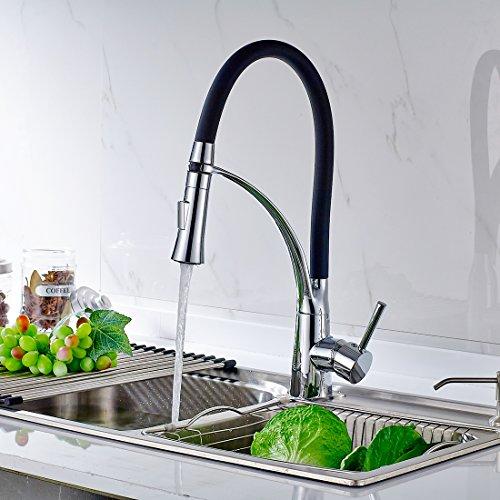 Timaco Schwarz Küchenarmatur Armatur Spüle Spültischarmatur Wasserhahn Küche Mischbatterie Spiralfederarmatur