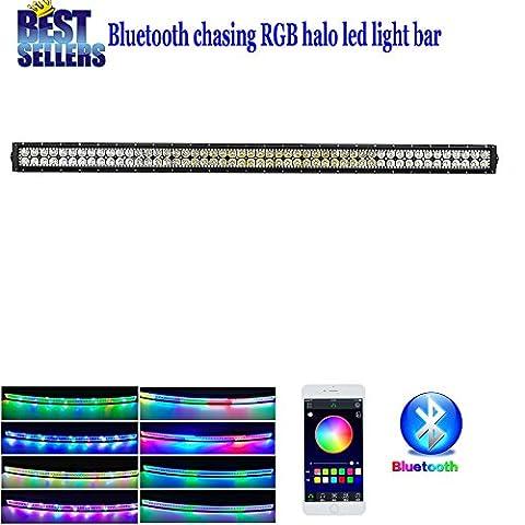 Colorbarz® droites Chasing Halo 106,7cm Barre lumineuse LED 240W avec Bluetooth App contrôlée, spot LED Lampe de travail Strip, Jeep Off-road Barre lumineuse, conduite Feux de Brouillard IP67étanche pour camions, voitures, VTT, SUV, Jeep