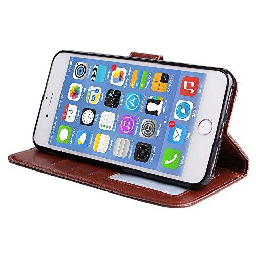 Custodia iPhone 8 Plus[Protezione Libera dello Schermo], ESSTORE-EU Premium Portafoglio Protettiva Cover Custodia, Retrò Mandala Flip Wallet Case Custodia in Pelle per Apple iPhone 8 Plus (2017) - Con Marrone