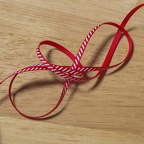 2Meter Weihnachts-Ripsband mit Candy-Cane-Streifen –Rot mit einem diagonalen, weißen Streifen, Polyester Band, rot, 3 mm (Cane Neuheit)