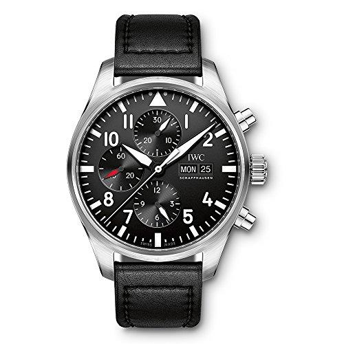 IWC Herren-Armbanduhr 43mm Armband Leder Schwarz Gehäuse Edelstahl Synthetisches Saphir Automatik IW377709 (Iwc-uhr)