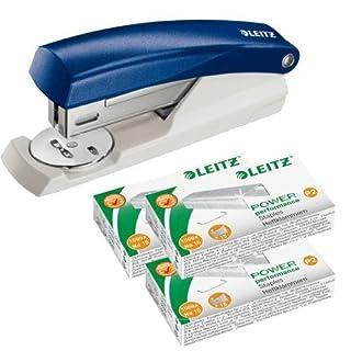 Leitz Mini Heftgerät NeXXt, Heftleistung 10 Blatt | Farbe wählbar (Mit Heftklammern, Blau)