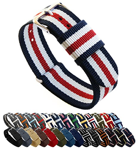 Nylon Flag (Uhrenarmbänder von Barton, Farb- und Längenauswahl (18 mm, 20 mm, 22 mm oder 24 mm), Bänder aus ballistischem Nylon, unisex, Navy/Crimson/Ivory, 18mm - Standard (10