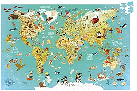 Vilac - 2722 - Puzzle Carte Du Monde Fantastique - 500 Pièces