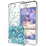 KOUYI iPod Touch 6 Hülle Glitzer, Luxus Fließen Flüssig Glitzer 3D Bling Dynamisch Silikon Weich Flexible TPU Kreativ Shiny Glitter Cover Beschützer für Apple iPod Touch 6 (Silber Blau)