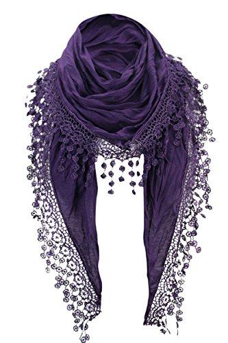 Damen Halstuch Tuch Dreiecktuch mit Bommeln Viele Farben (Lila)