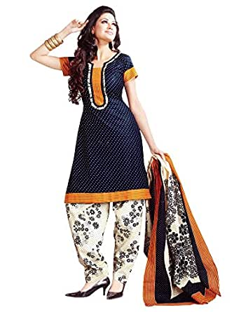 Vaamsi Women's Salwar Suit Dress Material (Deep1017_Blue_Free Size)