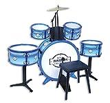 """Bontempi 514831 Metallisiertes Schlagzeug: Baßtrommel Ø 385 mm mit Pedal Trommeln Ø 170 mm. 1 Kleine Trommel Snare Drum"""" Ø 236 mm auf Ständer. Becken Ø 210 mm. 2 Schlagstöcken. Echte Sounds. Inkl. Hocker. Maße: 850x650x680 mm, Blanc Bleu"""