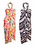 INDIAN FASHION GURU Womens Sarong or Pareo Combo of 2 Swim Cover Up Multipurpose Colorful
