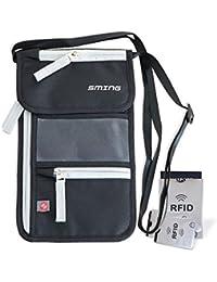 SMING Bolsa viajera Porta Pasaporte de cuello con Bloqueo RFID - Cartera compacta de cuello