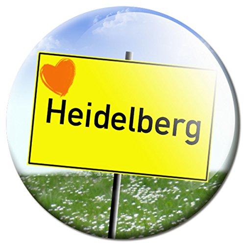 GUMA Magneticum 2626 Magnet Stadt Heidelberg - Reise Souvenir Ortsschild mit Herz Kühlschrankmagnet Ø 50 mm - Magnete mit Motiv Städte Orte für Kühlschrank Magnettafel Pinnwand Memoboard Whiteboard (Led Schilder, Bier)