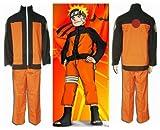 Sunkee Naruto Akatsuki Ninja Cosplay Costume Per Uzumaki Naruto, Taglia M (Altezza 165-170cm, Peso 55-65 kg)