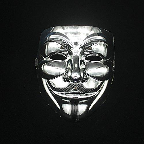 hongfei Kreatives Gold/Silber V für Vendetta Guy Fawkes Maske Anonyme Halloween (Maskerade Masken Kerl)