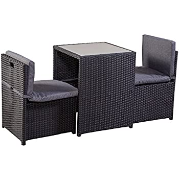 balkonm bel set balkonset terrassenm bel platzsparend box stahl pe rattan schwarz grau. Black Bedroom Furniture Sets. Home Design Ideas