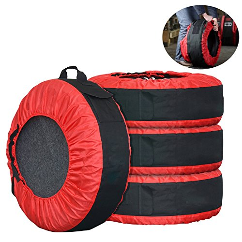30in Tire Tote FLR Adjustable Waterproof Spare Tire Covers Protection Covers Seasonal Tire Storage Bag for Car Off Road Truck Tire Totes Set of 4 …
