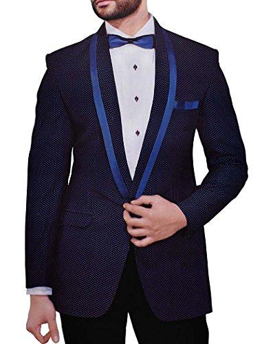 Velvet Smoking-hose (INMONARCH Mens Navy Blue Velvet 4 Pc Smoking Anzug Polka Design TX1062CM Massangefertigt Navy blau)