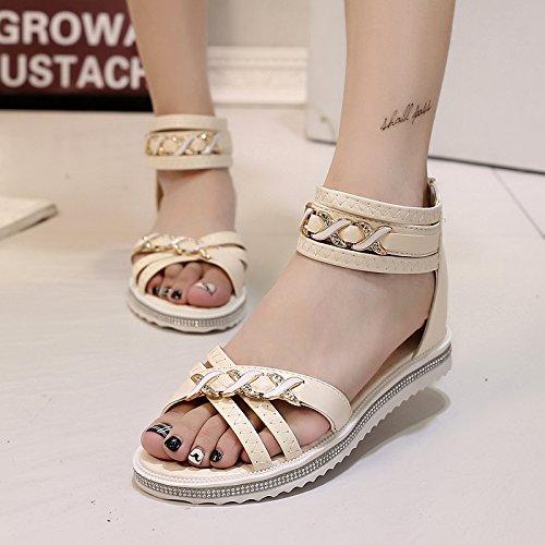 Lgk & Fait Des Sandales D'été Pour Les Femmes D'été Diamant Talon Plat Sandales Plates Antidérapantes Talon Plat Tricot Beige Chaussures