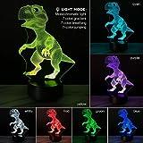 STRIR Lámpara ilusión 3D con diseño de dinosaurio, luz de noche modelo decorativo, interruptor por botón Smart Touch, regalo creativo para decoración de la casa o la oficina
