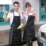 TRE lungo abiti da lavoro semplice in cucina/Chef di grembiuli di Oilproof e impermeabile regolabile d'attaccatura collo-Nero