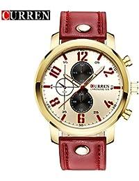 Curren nueva moda Casual reloj de cuarzo los hombres de la gran esfera blanca resistente al agua reloj de pulsera, 8192G