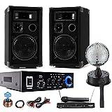 etc-shop PA Karaoke Boxen Verstärker Bluetooth USB SD MP3 SD Funkmikrofon Spiegelkugel DJ-Party 11