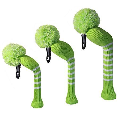 Lime Grün mit weißen Streifen, langer Hals, gestrickt, Golf, Pom Pom Headcover-Set 3, 460cc Driver, Fairway-Holz, Hybrid, mit Anhänger,#1 NUMMER 3 #,#5
