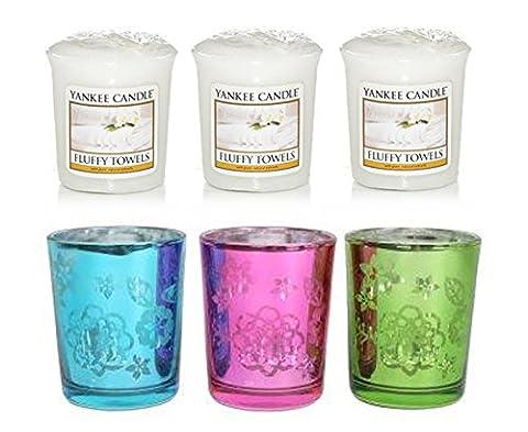 3 x YANKEE CANDLE Votives and 3 Butterfly Village Votive/Sampler Glass Holder (FLUFFY TOWELS)