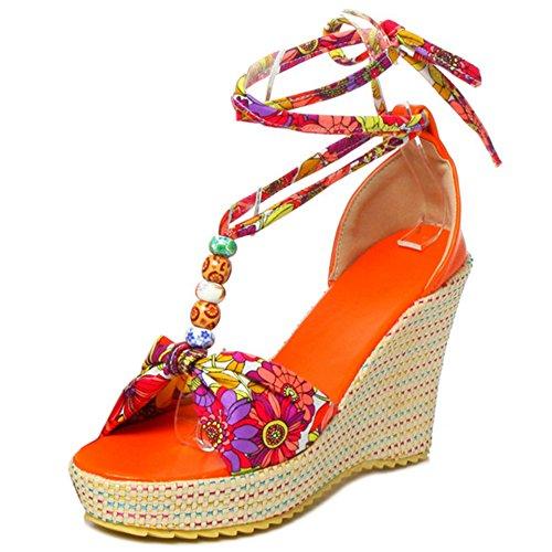 COOLCEPT Damen Bohmen Schnurung Sandalen Hoch Keilabsatz Open Toe Schuhe Gr Orange