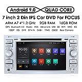 7 pulgadas Android 9.0 Quad Core Car en Dash Radio Estéreo de doble Din para Ford Focus Mondeo S-MAX C-MAX Galaxy Soporte Navegación GPS Mirrorlink 4G WiFi OBD2 Dab + SWC DVD Radio