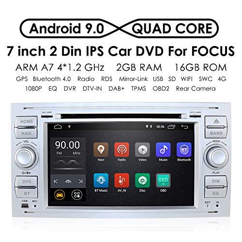 hizpo Android 9.0 Quad Core de Voiture dans Dash Radio Double DIN Autoradio stéréo pour Ford Focus Mondeo S-Max C-Max Galaxy Support GPS Navigation écran Miroir 4 G WiFi OBD2 Dab +