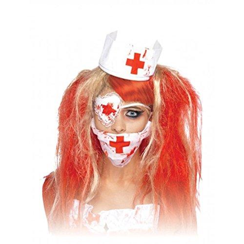 Welcher Kostüm Arzt (Blutige Mundschutz Maske, Augenklappe und Haarreif mit Häubchen für Krankenschwester / Arzt / Halloween /)
